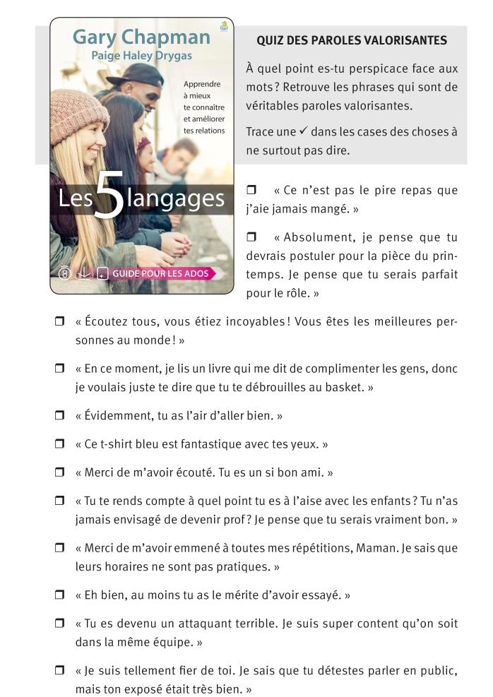 5 langages - quiz